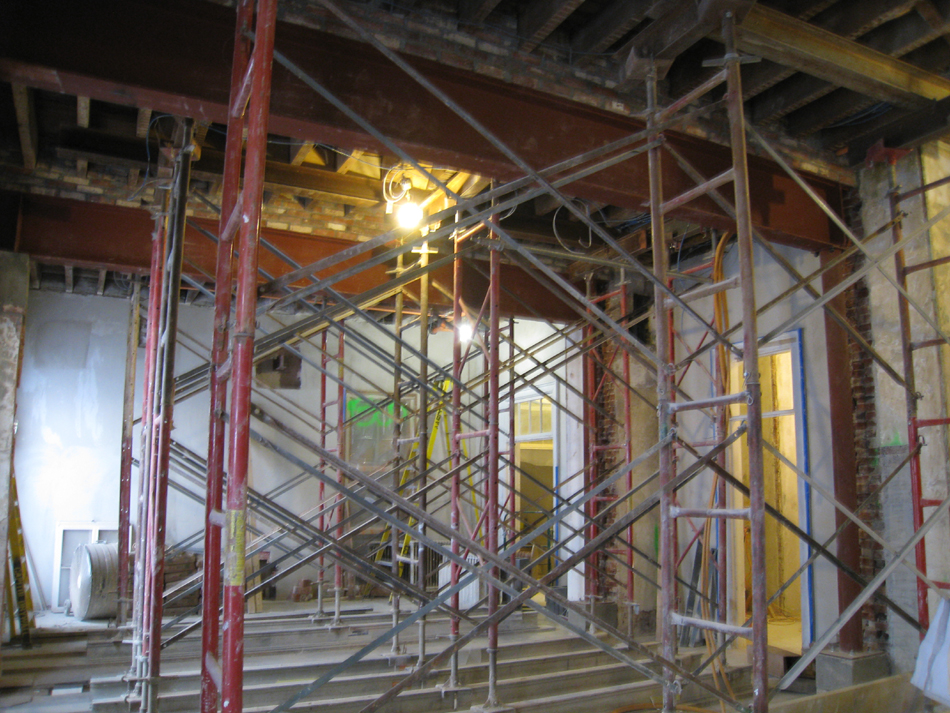 Second Floor--Installed steel beams and columns in central (large) room - January 7, 2011