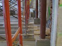 Second Floor--Detail of installed steel columns in central (large) room - January 7, 2011