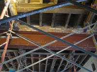Second Floor--Detail of installed steel beams and columns in central (large) room, showing brickwork - January 7, 2011