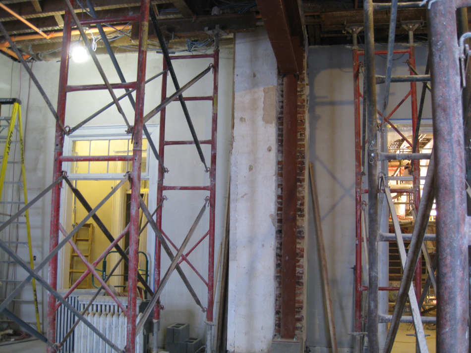 Second Floor--Detail of installed steel beams and columns in central (large) room - January 7, 2011