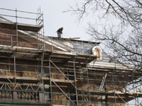 Roof--Removing slate and installing waterproof underlayment--South side - January 20, 2011