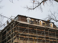 Roof--Removing slate and installing waterproof underlayment--Southeast corner - January 20, 2011