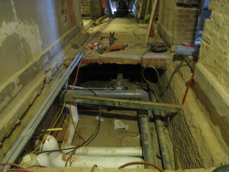Ground Floor--Under floor chase in east side corridor - January 20, 2011