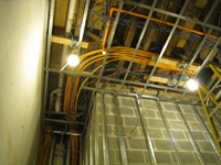 First Floor--Wiring, plumbing, fire suppression, etc. in ceiling just behind elevator shaft - January 20, 2011