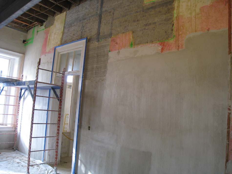 First Floor--East central room--Prepped wall for plastering - January 20, 2011