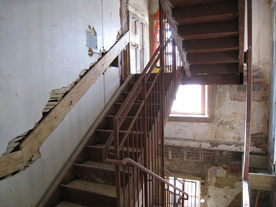 First Floor--Central stairwell to second floor with finished plaster - January 20, 2011