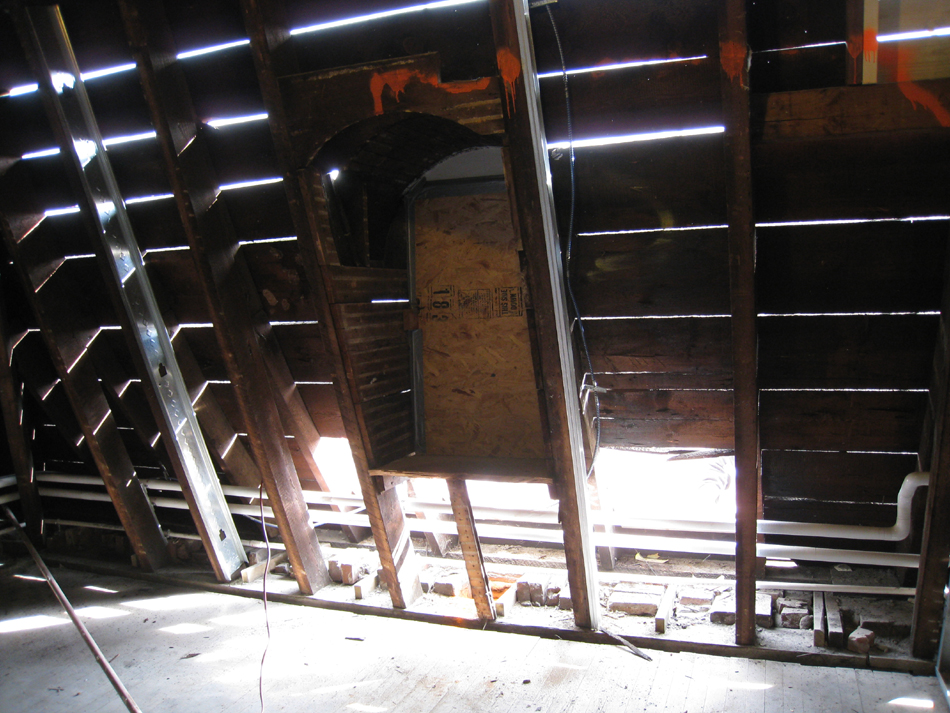 Third Floor--East Mansard roof interior, with slate removed outside - January 20, 2011
