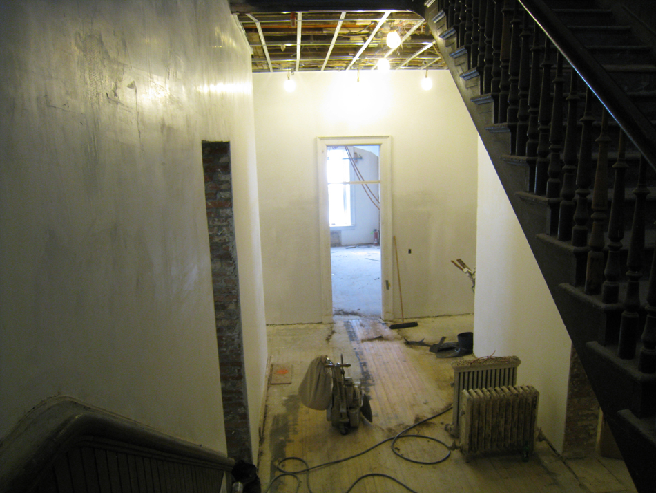 Second Floor--Looking down towards large central room (note sanding on floor) - January 20, 2011