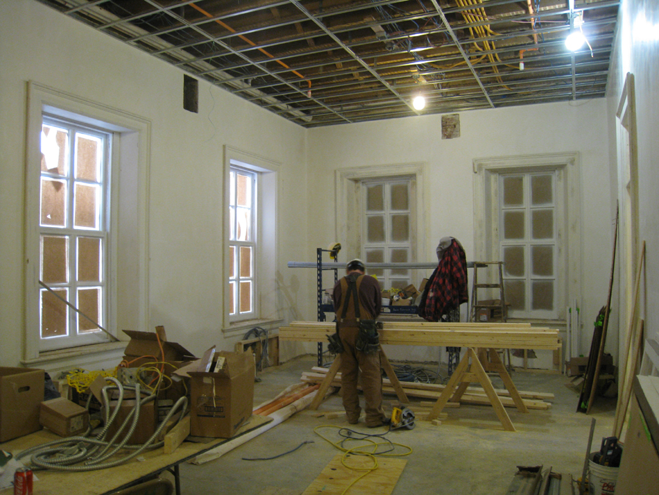 First Floor--Northeast corner room, showing newly installed windows - February 1, 2011