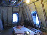 Third Floor--Insulation blown in, southwest corner room - February 1, 2011