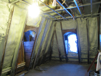 Third Floor--Insulation blown in, northwest corner room - February 1, 2011