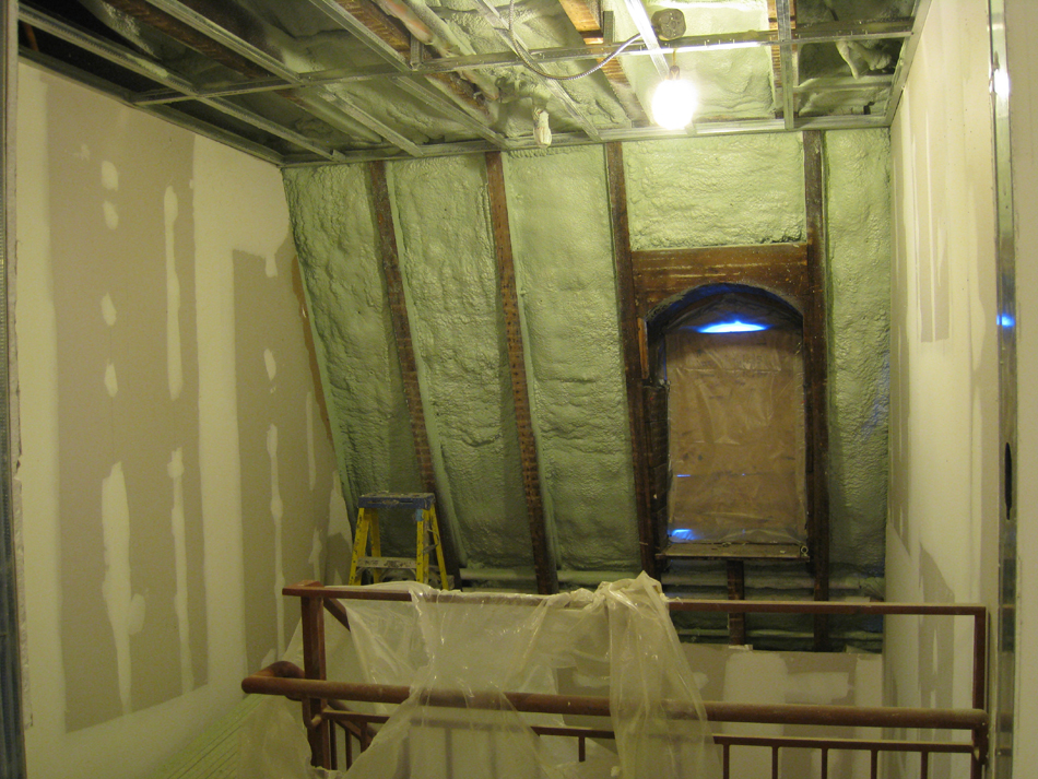 Third Floor--Insulation blown in, west stairwell - February 1, 2011