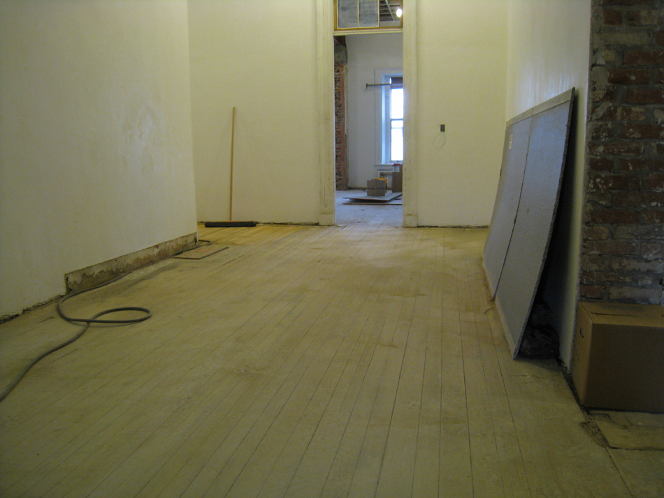 Second Floor--Corridor looking south from stairs with sanded floors - February 18, 2011