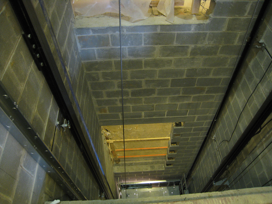 Second Floor--Elevator shaft looking down - February 18, 2011