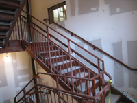 Second Floor--west staircase with poured concrete steps - February 18, 2011