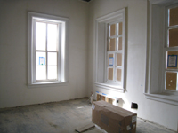 First Floor--Northwest corner room with primed windows and pre-installation of heat exchanger - March 3, 2011
