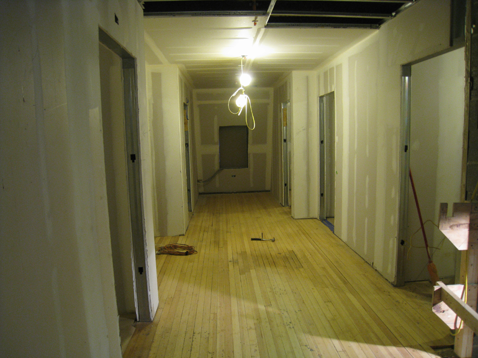 Third Floor--West corridor, final sanded original floors before application of sealant - March 3, 2011