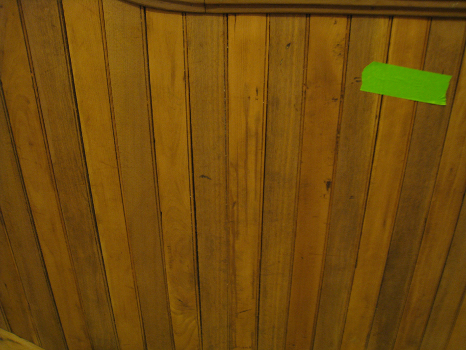 First Floor--Detail--Sanded railing for the central staircase (note the two alternating woods in the chair rail) - March 14, 2011