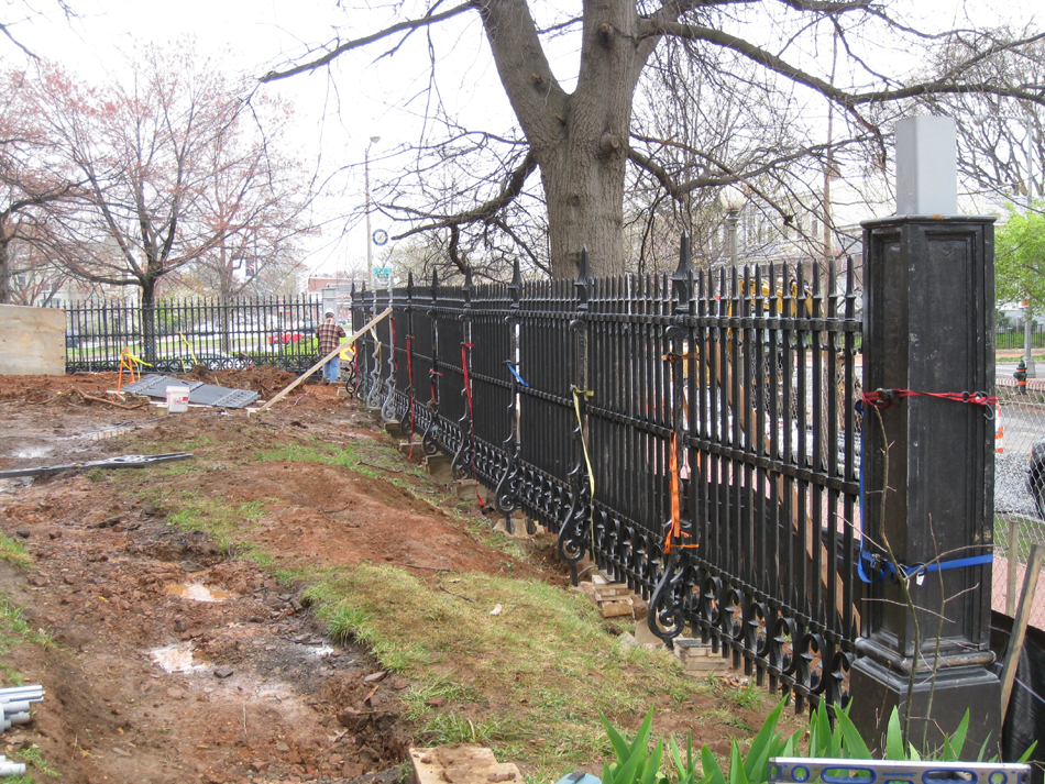 Fence--Reinstalled fence along E Street to Tenth - April 9, 2011