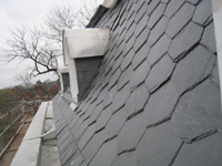 Roof--New slate mansard roof-- east side looking north - April 9, 2011
