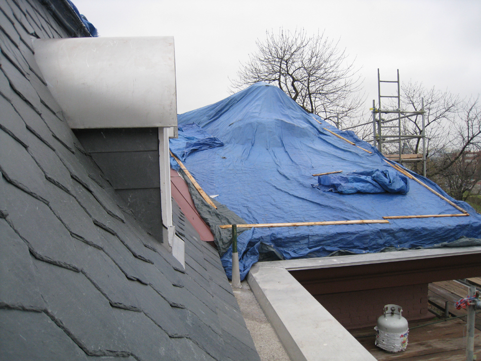 Third Floor--New shale mansard roof-- south side looking east - April 9, 2011