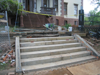 Grounds--Resetting the stone steps on the south entrance - April 29, 2011