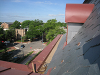 Roof--South side looking west, showing preparation for lightning grounds - May 11, 2011