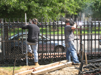 Fence--Final welding and sanding - May 23, 2011