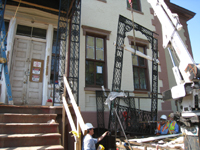 Elevation--North portico ironwork being installed - June 2, 2011