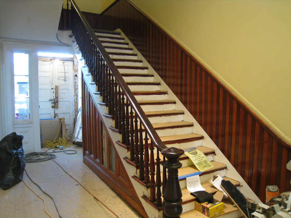 First Floor--Stained and finished rail and side of main staircase - June 2, 2011