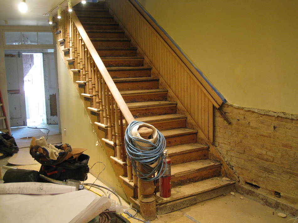 Ground Floor--Main staircase, sanded - June 2, 2011