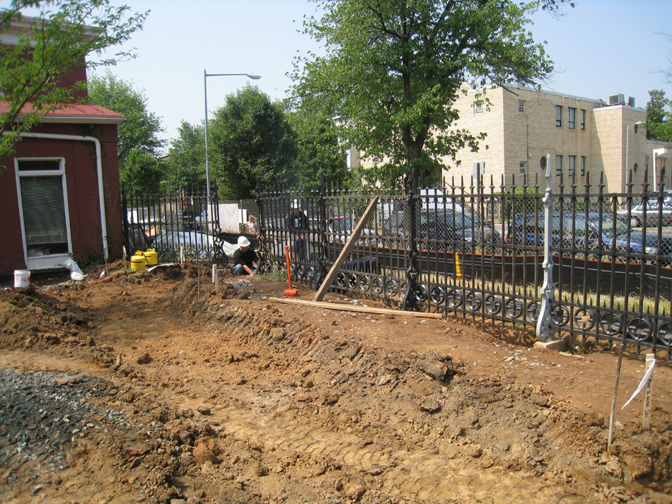 Fence--Fitting in last sections on the west side - June 10, 2011