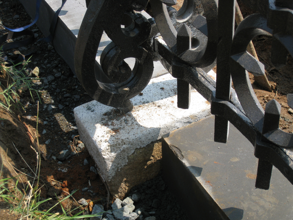 Detail of Jahn concrete with stones set in place - June 10, 2011