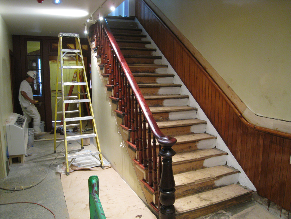 Ground Floor (Basement) --Main staircase partially refinished - June 10, 2011