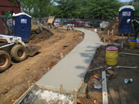 Grounds--Concrete poured for sidewalk - June 10, 2011