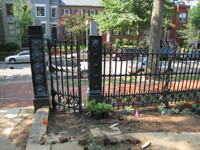 Fence--Newly installed gate on west side of south entrance - July 9, 2011