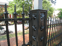 Fence--Newly installed gate on west side of south entrance, detail  - July 9, 2011