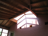 Carriage House--Skylight and ceiling of African mahogany - July 18, 2011